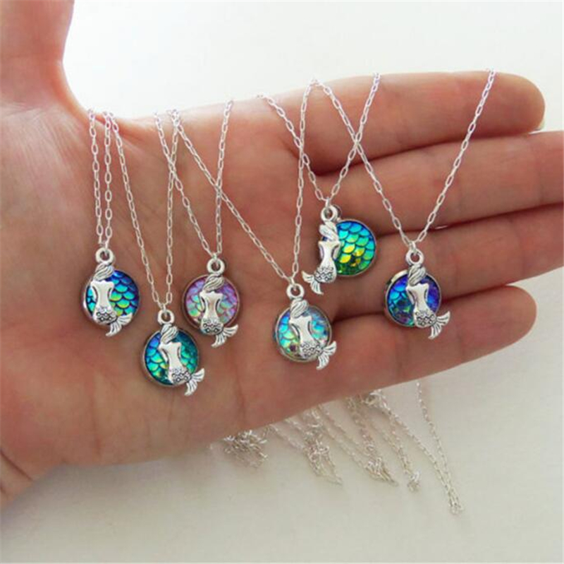 Dream Romantic Maritime Princess Mermaid Fish Scales necklace Lucky Girl Necklace Good Sister Pendant Fashion Female Jewelry