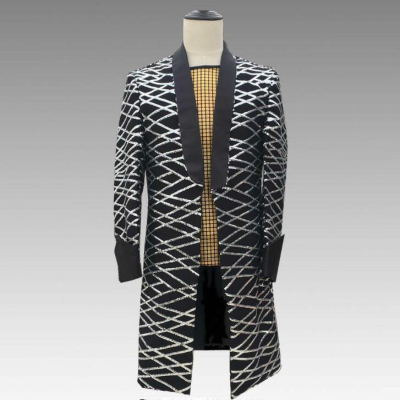 2019 new bar nightclub punk male singer DJ square long sequined suit costume