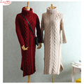Ancho de busto 105 cm cuello alto pullover sweater woolly dress mujeres de gran tamaño prendas de vestir exteriores larga de tejer vestido