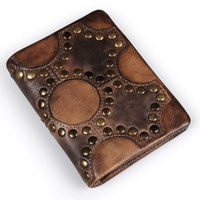 Ruil Gothic Top Quality Retro Fashion Hand Coloring Genuine Leather Men Mini Purse Handmade Rivets Wallet
