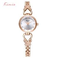 KIMIO Hollow Heart Love Diamond Bracelets For Women Watches 2017 Rose Gold Watch Fashion Women Quartz