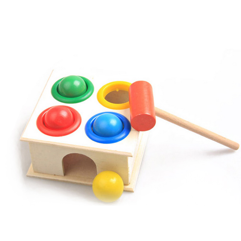 Children Early Learning Educational Toys Baby Hammering Wooden Ball Hammer Box Geometric Blocks Kids Newborn Toy Gifts B baby wooden toys multifunctional learning cube puzzle round beads abacus frame baby educational toys for children