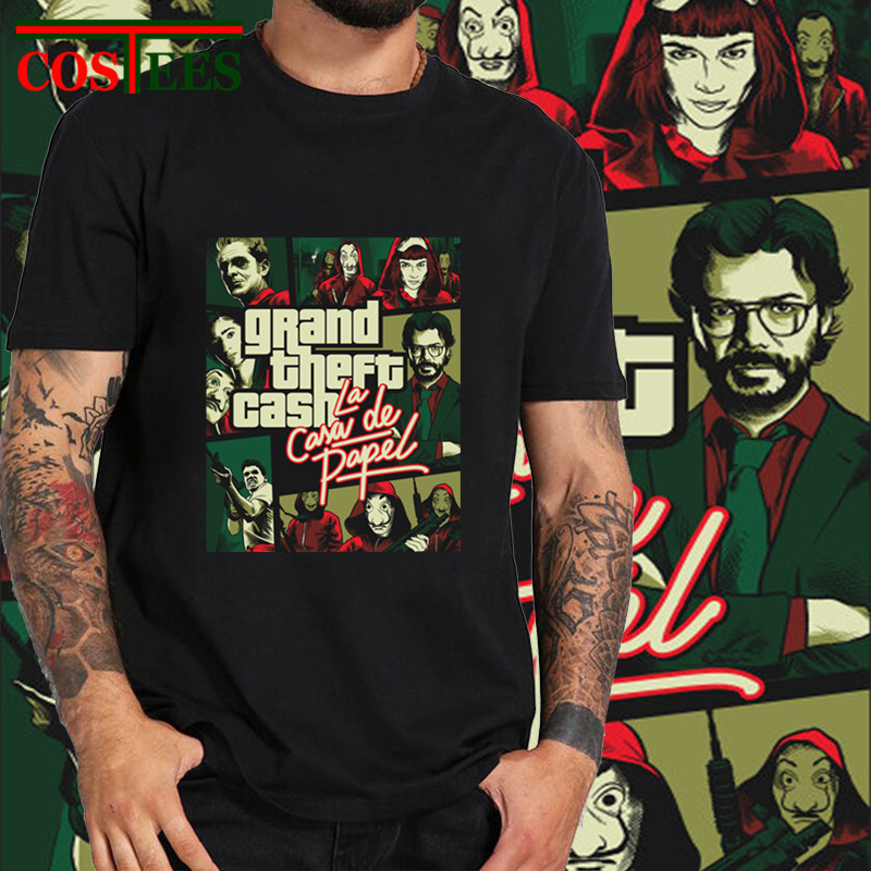 Camiseta jogo GTA Grand Theft Dinheiro La Casa de Papel Engraçado camiseta homens Dinheiro Assalto Ciao Bella T-Shirt homme casa de Papel Tshirt