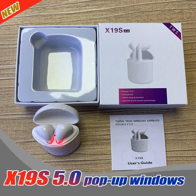 50PCS 2019 Wholesale X19S TWS Wireless Earphones in ear Earbuds Bluetooth V5 0 Sports earphones with