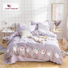 SlowDream Fashion Pig Friend Cartoon Bedding Set Kids Elegant Duvet Cover Active Printing Bed Linen Bedclothes