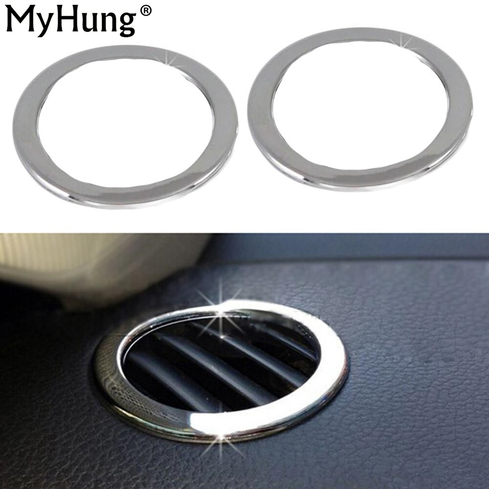 For Volkswagen VW Jetta MK6 ABS Chrome Car Air Conditioning Cover Trim Outlet Decoration Circle Light Bar 2pcs Car Styling