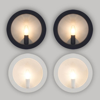 Modern Wall Light Fixture Black White E27 Round Sconce Lamp Luminaire for Loft Decor Bedroom Stairs Living Home Dining Room
