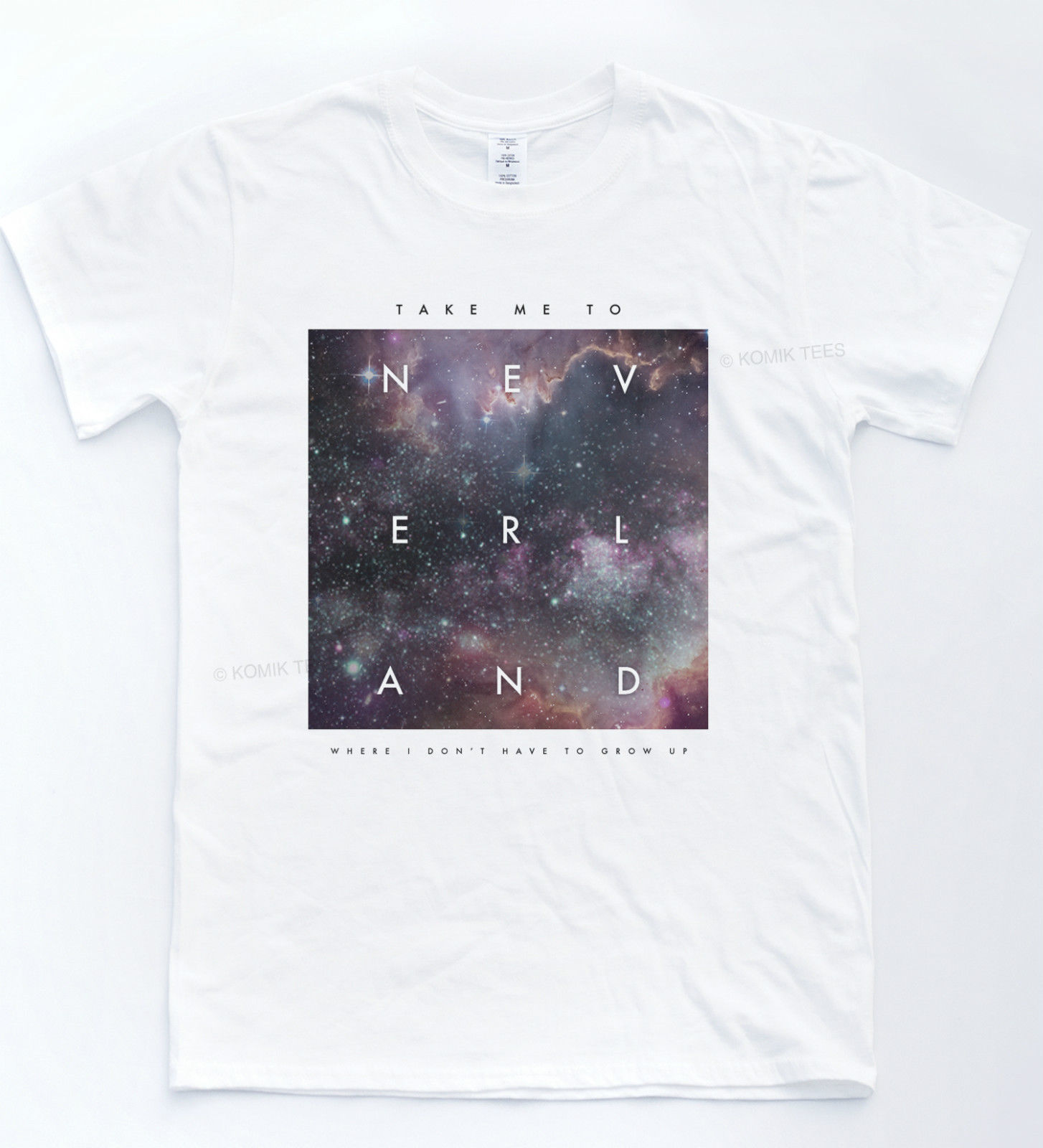 NEVERLAND Galaxy T shirt Quote Indie Hipster Top Retro Peter Pan Tumblr Gift Tee