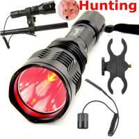Red Green Hunting Fishing Light 6cm Deep Reflector Spotlight 18650 CREE LED Flashlight Torch ON OFF