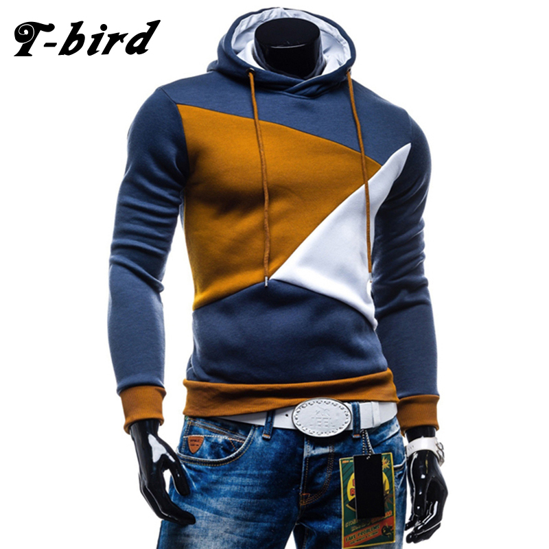 T-Bird Hoodies Men 2018 New Patchwork Fas