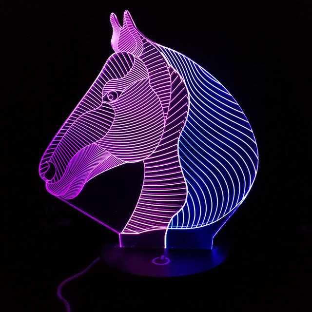 New Horse 3D Night Light  Creative 3 D Lamp  Visual  Lighting for Room Decoration Novelty Christmas Gift  For Babies