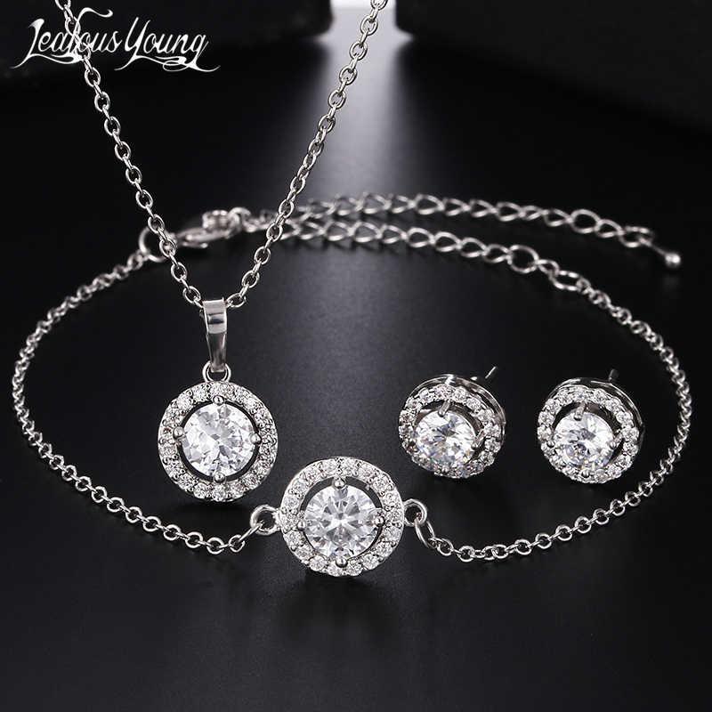 2018 klassische Runde Zirkonia Ohrringe Armband und Halskette Schmuck Sets Für Frauen Silber Farbe Nigerian Hochzeit Schmuck Set AS158