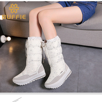 High Black Nylon With Silver Snowflake Printing Winter Boots Students Boots Snowboots Snow Boots Women Boots