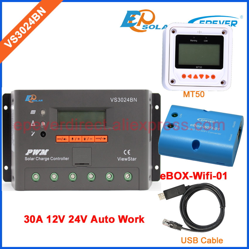 VS3024BN 12v 24v auto work solar panel regulator EPEVER/EPSolar 30A 30amp USB communication cable wifi BOX and meter MT50 ep new series pwm regulator solar panel system controller with usb cable and mt50 remote meter vs3024bn 30a 30amp