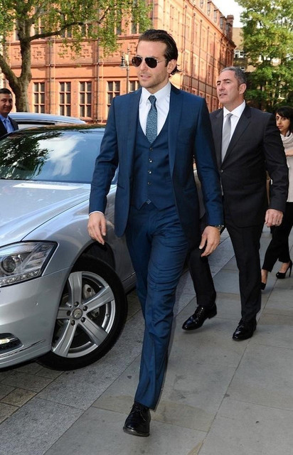 Navy Blue Groom Tuxedos Custom Men Wedding Suits Best Man Groomsmen Formal Suit