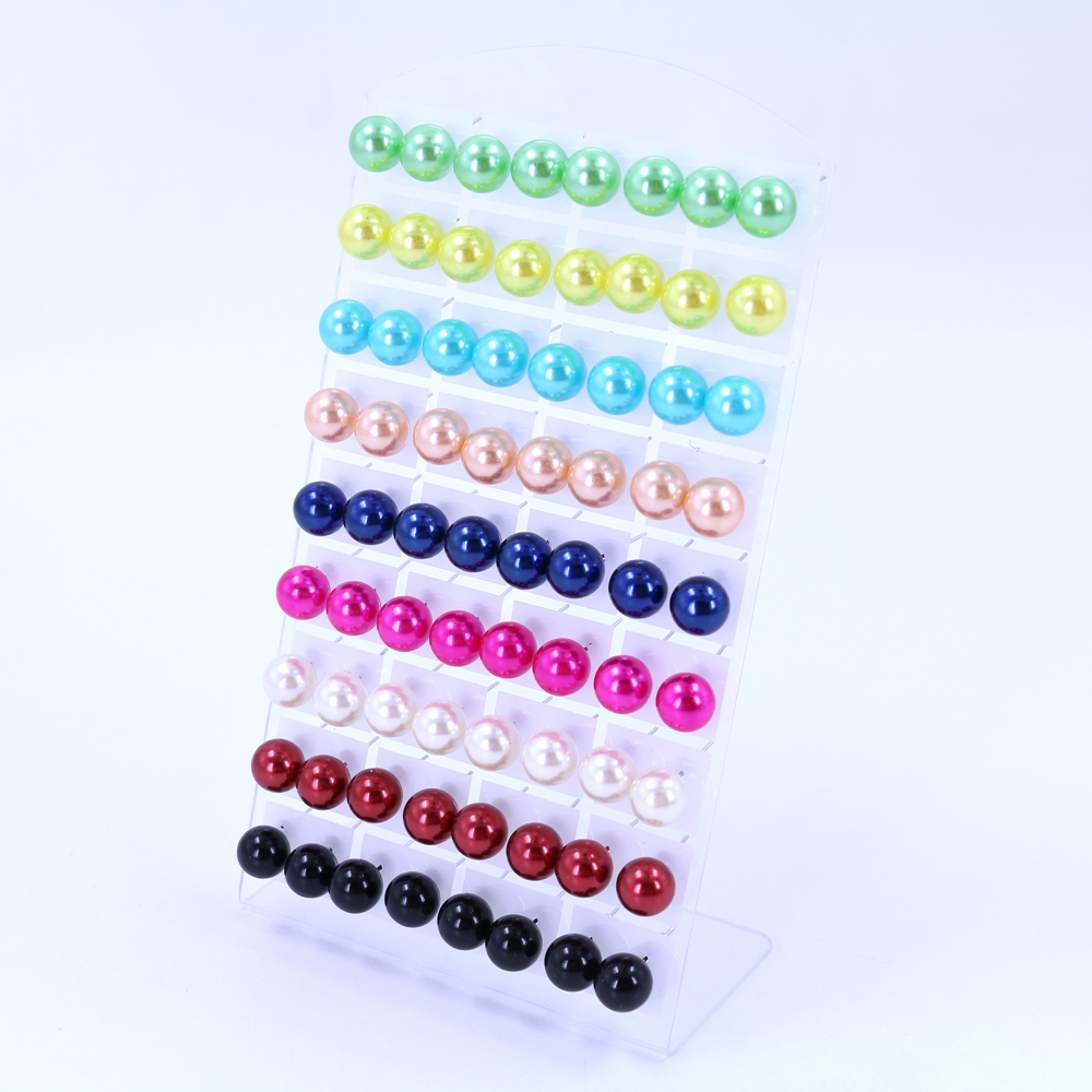 Factory Korea Style Cheap 12mm Plastic Ball Resin Ball Imitation Pearl Stud Earrings Iron Stick,36pairs/lot Ladies'earring