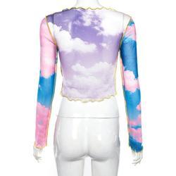 Blue sky cloud print mesh tshirt women crop top transparent casual summer t-shirt 2019 patchwork sexy tee shirt femme Camiseta 3