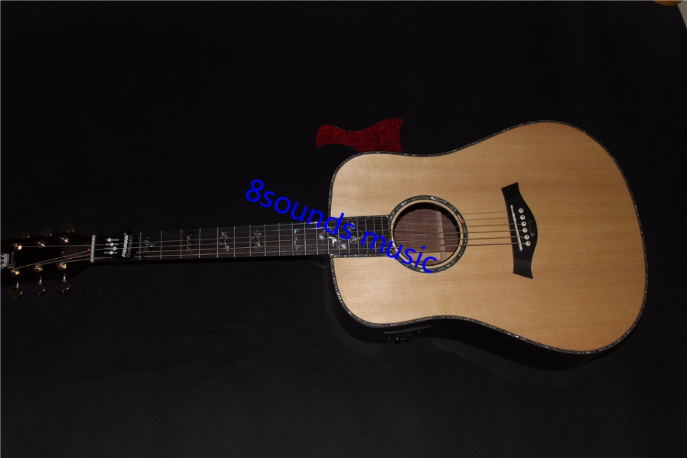 купить free shipping 910ce style natural acoustic guitar 8sounds music solid wood top Byron acoustic electric guitar онлайн