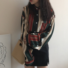 hot deal buy mazefeng 2018 women solid vintage shirts loose style shirts ladies striped fashion long sleeves women tops women casual shirts