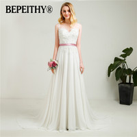 Fashionable Beach Wedding Dress Sheer Back With Belt Vestidos De Novia Sexy Beading Bridal Dresses 2018