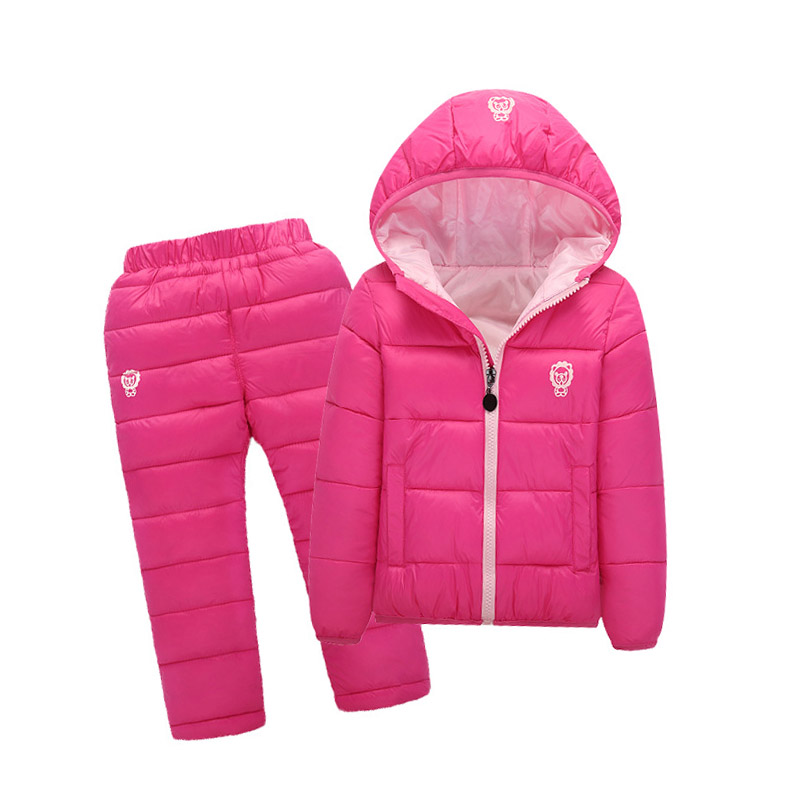 24M-7 Years Snow Wear Baby Boys Girls Clothing Sets 2018 Winter 2Pcs Girls Down Coats and Pants Hooded Boys Clothes Suit