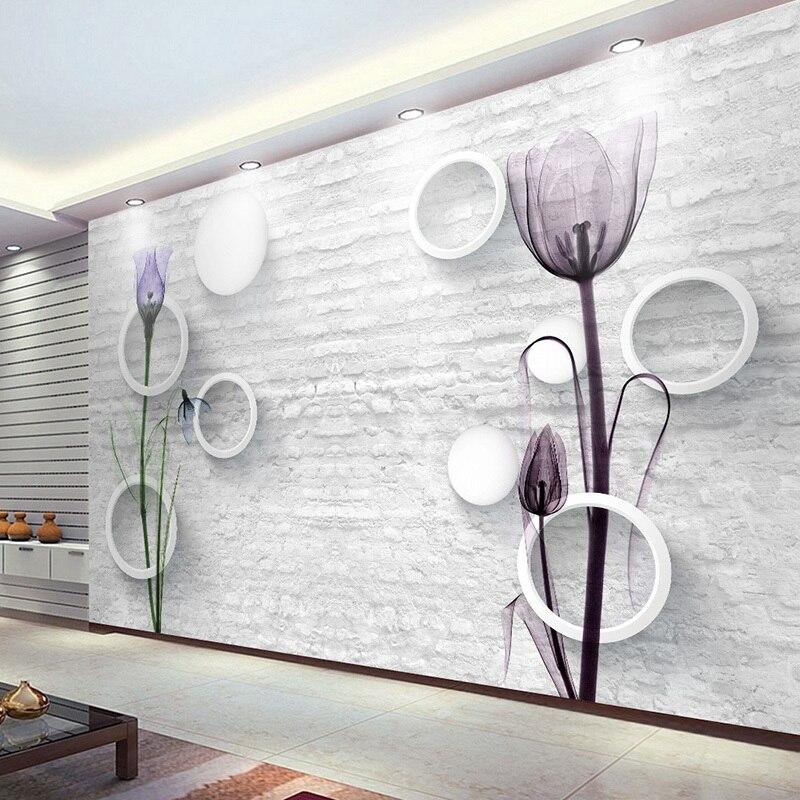 Custom Photo Wallpaper 3D Brick Pattern Circle Ball Tulip Flowers Abstract Art Mural Wall Paper Living Room TV Background Decor