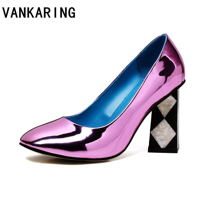 VANKARING brand shoes spring women pumps high heels patent leather woman black red purple dress party