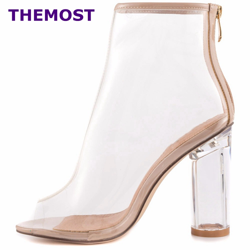 HOT SALE!!! New women PVC ankle boots pointed toe crystal heel transparent women boots clear high heels summer shoes big size цены онлайн