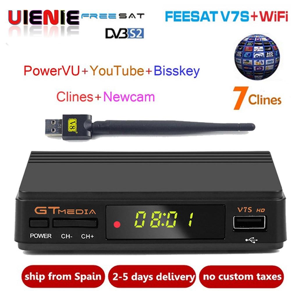 Freesat V7s CCcam Satellite Receiver +1 Year Europe Spain CCcam 7 Clines Server+1 USB WIF Device DVB-S2 Satellite HD Receiver set top box freesat v7 combo dvb s2 dvb t2 receptor satellite receiver with 1year europe cccam 3 clines and 1 usb wifi device