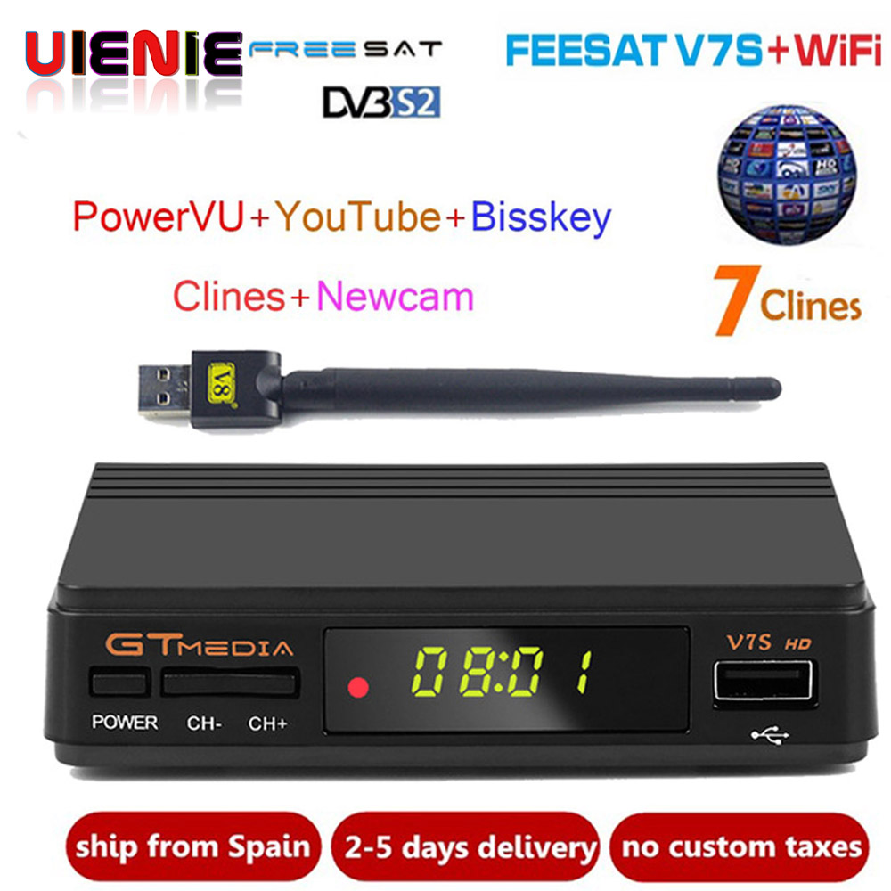 Freesat V7s CCcam Satelliten-receiver + 1 Jahr Europa Spanien CCcam 7 Clines Server + 1 USB WIF Gerät DVB-S2 satellite HD Receiver