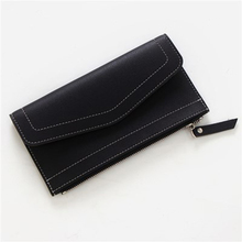 SUONAYI matte leather womens wallet zipper bag vintage female purse fashion card holder phone pocket long women