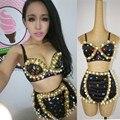 2015 mujeres de moda Ds traje de perlas de diamantes dj trajes del cantante para mujer split set rendimiento bailarina discoteca fiesta