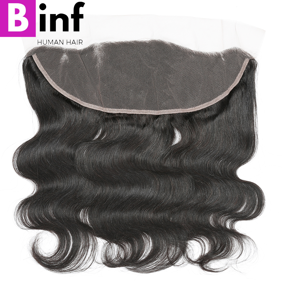 BINF Hair Brazilian Body Wave 13x4 Ear To Ear Lace Frontal Closure With Baby Hair Pre Plucked Natural Colour Remy Human Hair