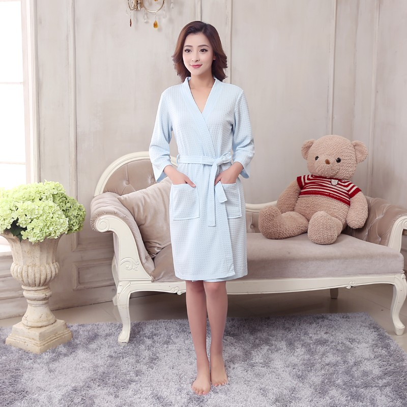 Unisex Mens Women's Long Cotton Sleep Lounge Robes RBS-C LYQ115 17