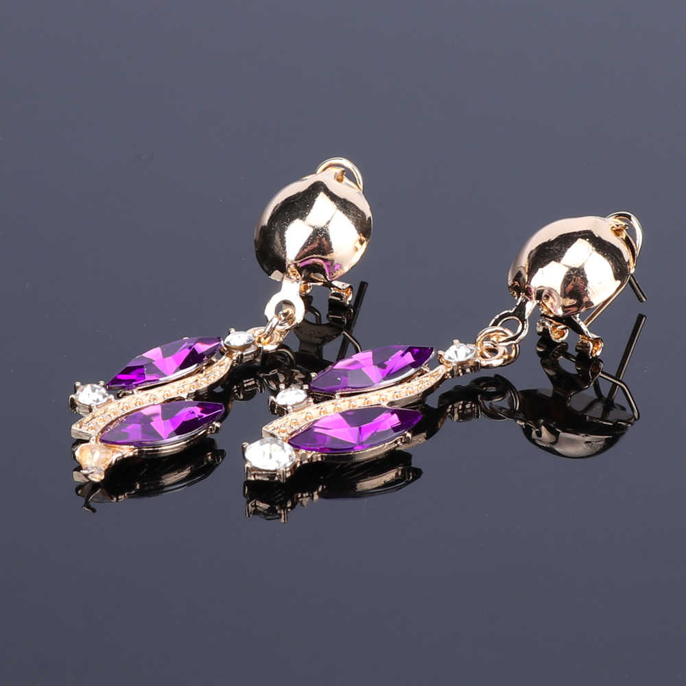 Nova moda roxa strass cristal colar de instrução conjuntos de jóias de noiva decoração colares jóias presentes para as mulheres