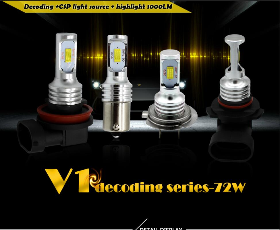 2pcs <font><b>2000Lm</b></font> H11 H8 CSP LED Car Lights Bulbs 9005 HB3 P13 PSX26W H16 <font><b>H7</b></font> H3 9006 HB4 White Yellow Fog Light 6000K Driving Lamp image