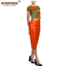 2019 africa fashional skirt set for women AFRIPRIDE short sleeve cotton top+knee length faux leather A1826028