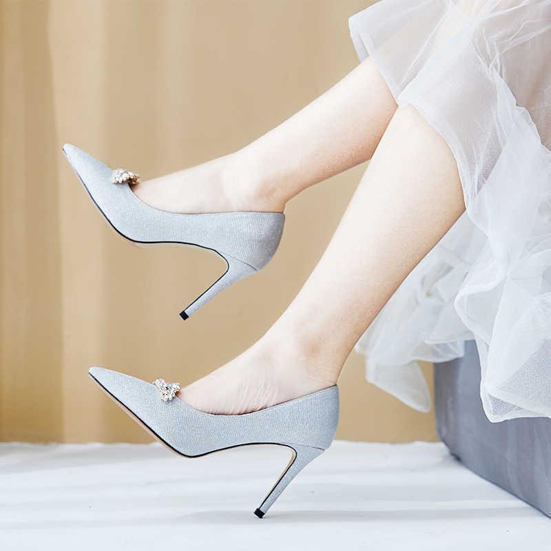 Hochzeit Schuhe High Heels Pailletten Strass Pumpen Frauen Schuhe 6,5 cm