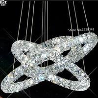 טבעת 3 חדשה עיגולים נברשת LED K9 קריסטל מודרני אורות נברשת בסגנון אירופאי יהלומי Crtstal-בנברשות מתוך פנסים ותאורה באתר