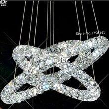 Lámpara de círculos de cristal LED K9, 3 anillos, luces de cristal de diamante moderno, candelabro de estilo europeo de alta gama