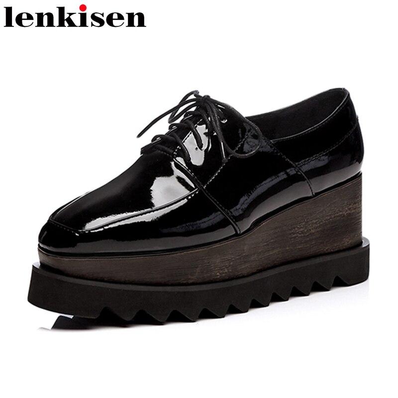 Lenkisen 2018 superstar round toe lace up black platform brand spring causal shoes wedge high heels preppy style women pumps 1f1