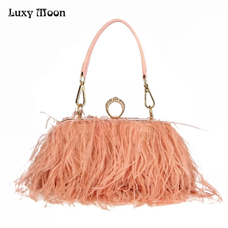 Luxy Moon Designer Ostrich Fur Feather Wallet Clutch Bag Women Clutch Diamond Knuckle Rings Dinner Evening Bag Chain Purse ZD855 faux ostrich feather fur nipple covers