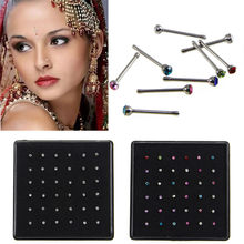 1 box/36pcs Nose Ring Stud Bar Piercing Nose Ring Studs Crystal Rhinestone Bulk Bone Straight Jewelry & Accessories(China)
