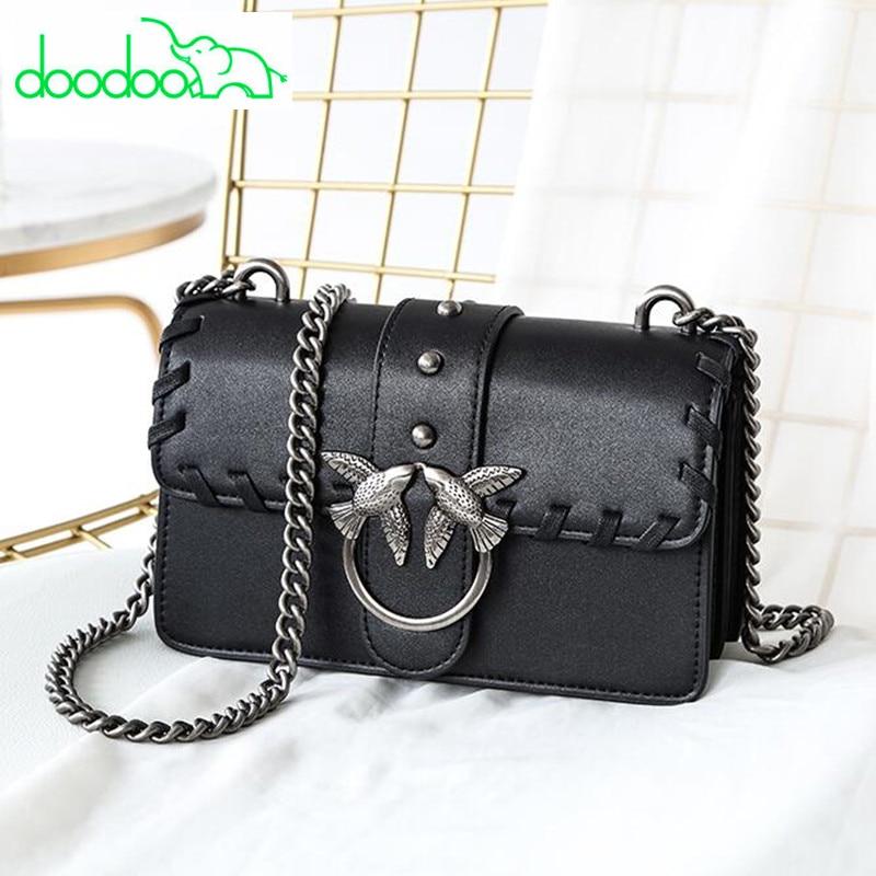 2018 Luxury Fashion Famous Brand Designer Women Leather Handbags Chain Rivet Shoulder Messenger Bags Black Clutches Channels Bag цены