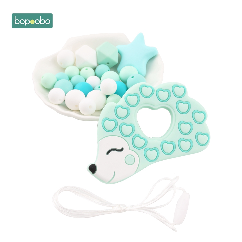 Bopoobo 1Set Hedgehog Silicone DIY Set Chew Silicone Beads Teething Accessory Safe And Natural Christmas Gift Baby Teethers