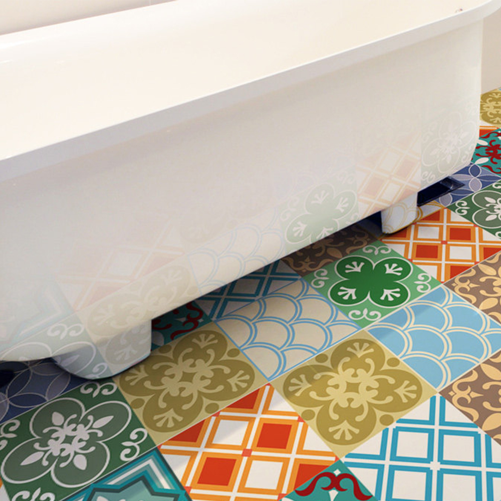 Moroccan Style Floor Stickers Wallpaper Removable Anti Slip Wall Art Decal Home Kitchen Bathroom DIY Decor