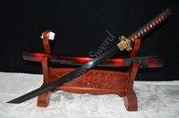 BLACK BLADE JAPANESE SAMURAI SWORD WAKIZASHI SHARP HANDMADE FULL TANG Dragon Tsuba Genuine Ray Skin Hard Wooden Handle