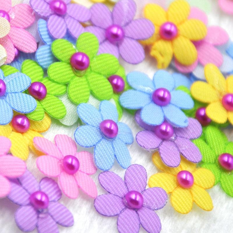 100pcs Padded Felt Flowers Bows W/Rhinestone Appliques Craft Mix B304