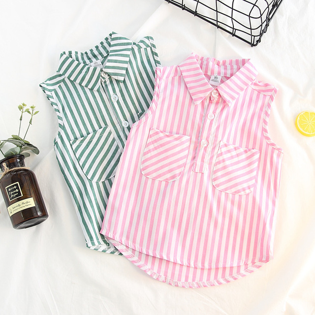 a003114f481 Girls Blouses Striped Pockets Design 2018 New Summer Kids Shirts Fashion  Toddler Girl Clothing Casual Top Baby Girl Clothes
