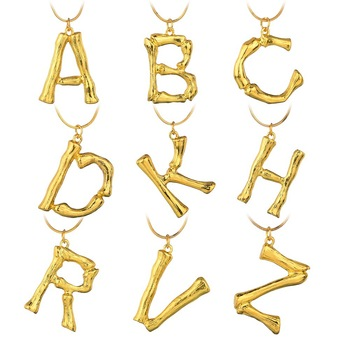 Lava 26 Letters Bamboo Pendant Necklace for Women Creative Elegant Gold Color Statement Chain Necklace Fashion Jewelry Gift gold earrings for women